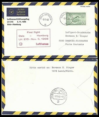 Winter Sports,LUFTHANSA FFC,Cover,1966 NORWAY-GERMANY,Oslo-Hamburg LH 215