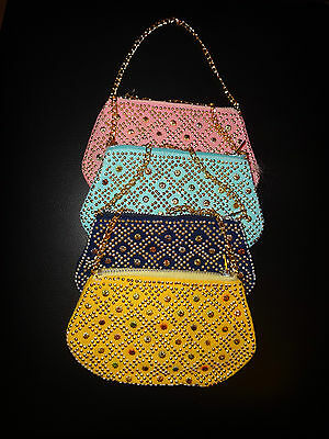 Retro Original 1970'S 4 Jewelled Purses funky colours