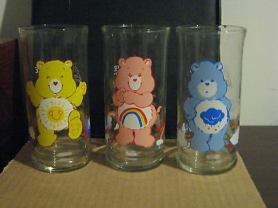 COLLECTOR GLASSES SET OF 3 CARE BEARS