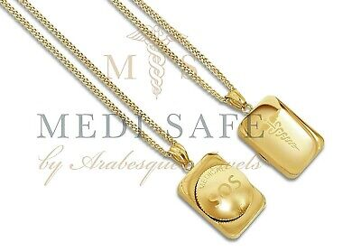 "30"" Sos Necklace/pendant Medical Alert/emergency/stainless Steel Talisman Gold"