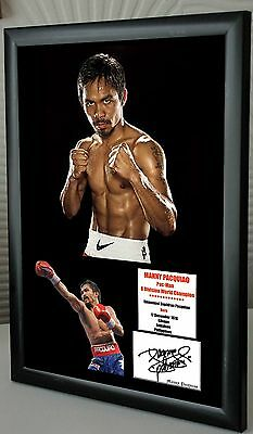 "Manny Pacquiao Boxing World Champion Framed Canvas Print Signed ""Great Gift"""