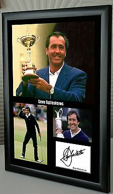 "Seve Ballesteros Golf Framed Canvas Tribute Print Signed ""Great Gift"""