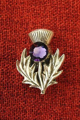 Scottish Thistle Celtic Iona Scotch Amethyst Swarovski Crystal Pewter Brooch Pin