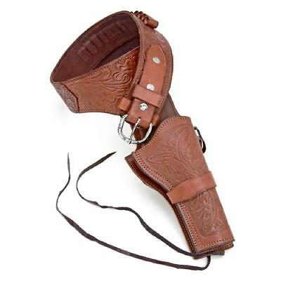 Old West-Style Deluxe Tooled Brown Leather Revolver Holster Collectible M/L/XL