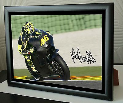 """Valentino Rossi Motor Cycle Framed Canvas Print Signed """"Great Gift"""""""