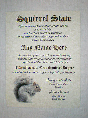Squirrel Diploma - Personalized with your Name     Squirrel lover  FUN