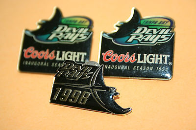 Lot 3 VTG Old Logo MLB lapel hat pins - Tampa Bay Devil Stingrays 1998 Coors