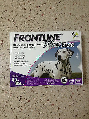 FRONTLINE PLUS FOR DOGS 45-88 LBS, 6 PACK, NEWEST PACKAGING, EPA APPROVED, USA!