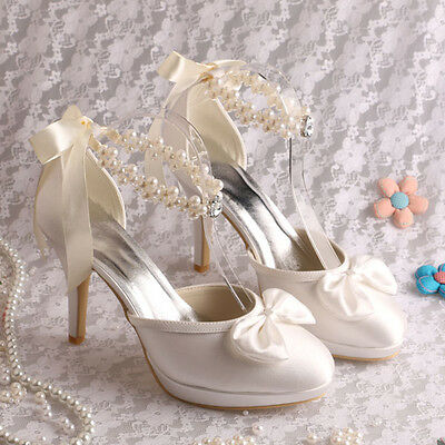 SATIN HIGH HEEL Pearl Wedding Shoes UK size 3-8 - £9.99