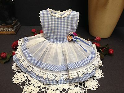 """VERY RARE 15"""" Ideal Shirley Temple Blue Checked Junior Prom Doll Dress!"""