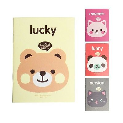 1Pc Portable Cute Cartoon Notepad Memo Kraft Paper Diary Notebook Exercise Book