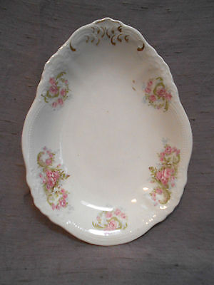 Vintage W.H. Grindley & Company England Egg Shaped Oval Dish with Pink Roses