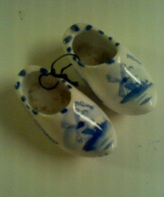 Old Vintage Hand Painted Delft Blue Holland Mini Clogs Shoes Windmill