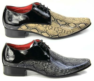Mens Italian Designer Dress Shoes, Snakeskin Pointed Leather Lined Black Beige