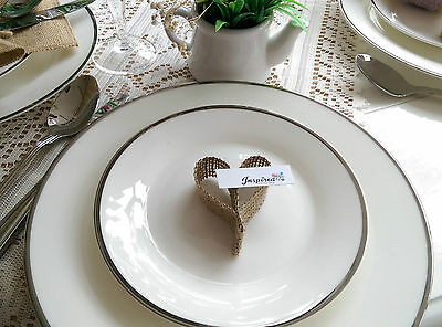 Wedding Table Place Heart Card Vintage Rustic Shabby Chic X 50 Hessian Burlap