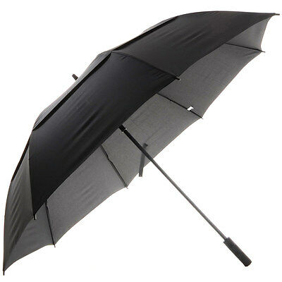 Drizzles Mens Auto Long Double Canopy Windproof Umbrella in Black