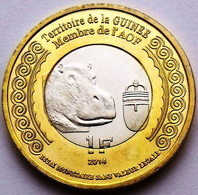 Guinea - Guinee - French West Africa 1 Franc 2014 Animal Hippo Bimetallic Unc