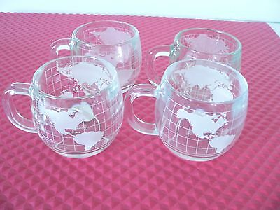 Vintage Nestle World Globe Coffee Tea Etched Frosted Cups Mugs Set Of 4 Mint