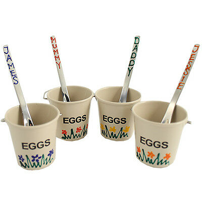 Personalised Hand Painted Egg Cup Buckets with Spoons (Cream) 8pc Set