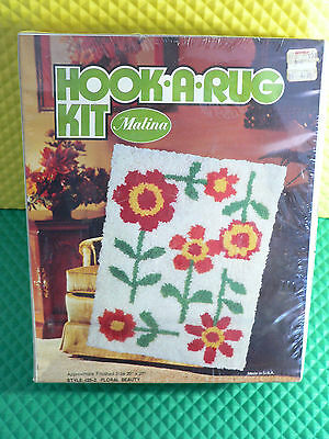 Vintage Malina Hook A Rug Kit Floral Beauty Style #25-2 New In Sealed Package