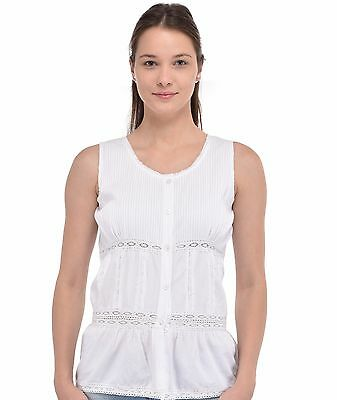 Cotton Lane White Cotton Sleeveless Blouse B217WT. Sizes UK 8 to 38