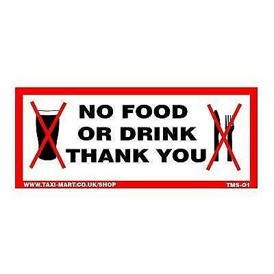 No Food Or Drink Thank You Taxi Window Sticker
