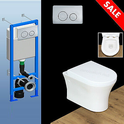 Toilet WC Bathroom Wall Hung Concealed Frame Ceramic Soft Closing Seat Cover W8