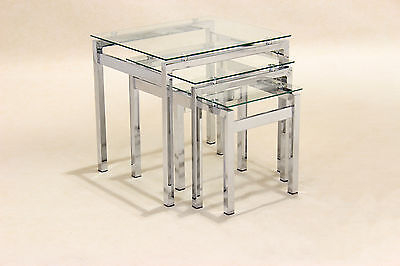 Epsom Clear Glass and Chrome Nest of Tables - Lamp Side End Coffee Table Set