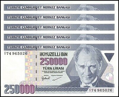 Turkey 250,000 (250000) Lira X 5 Pieces (PCS), 1998, P-211, UNC, Prefix-I