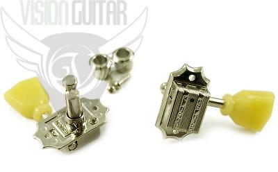 NEW! Tone Pros Kluson 3x3 Tuners - Vintage Press-In Bushings TPKG3-N NICKEL