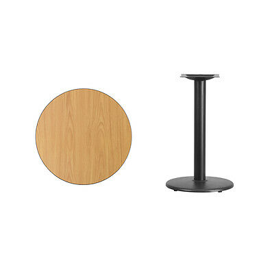 """24"""" Round Natural Laminate Table Top With Base - Table Height Restaurant Table"""