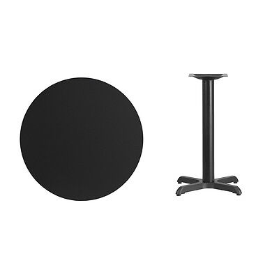 """30"""" Round Black Laminate Table Top With Base - Table Height Restaurant Table"""