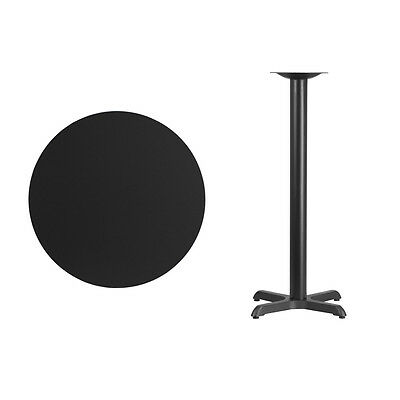 """30"""" Round Black Laminate Table Top With Base - Bar Height Restaurant Table"""