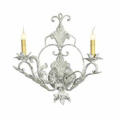 Wrought Iron French White Finish French Wall Sconce