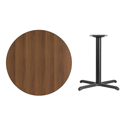 """36"""" Round Walnut Laminate Table Top With Base - Table Height Restaurant Table"""