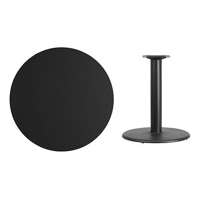 """36"""" Round Black Laminate Table Top With Base - Table Height Restaurant Table"""
