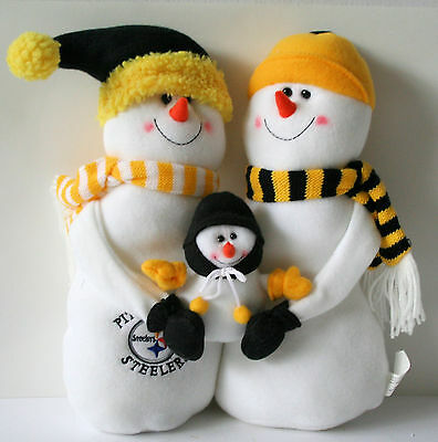 Pittsburgh STEELERS Plush SNOWMAN FAMILY - Winter - Christmas - Holiday - NEW !