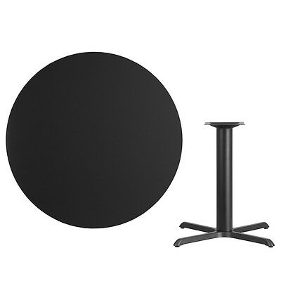 """42"""" Round Black Laminate Table Top With Base - Table Height Restaurant Table"""
