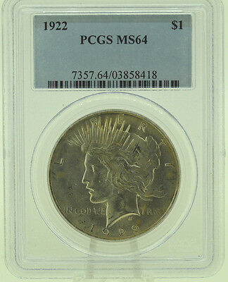 1922 $1 PCGS MS64  Peace Silver Dollar   (959)