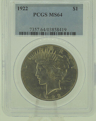 1922 $1 PCGS MS64  Peace Silver Dollar   (956)