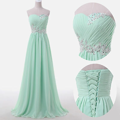 2015 Plus Size Long Dress BEADED Prom Evening Gown Ball Party Bridesmaid Formal