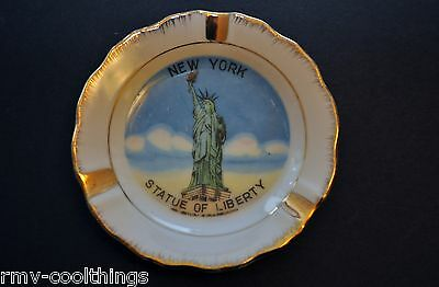 Porcelain Souvenir Ashtray New York Statue of Liberty 14K GP VINTAGE Made Japan