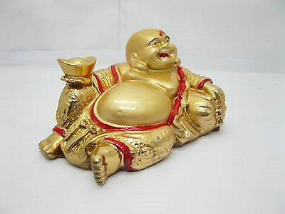 Golden Laughing Buddha Statue Hollow 100-120mm (CH34-1)