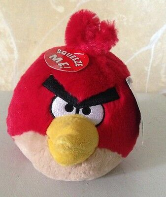 """ANGRY BIRDS PLUSH Red Male Bird Toy Doll Original LICENSED 5"""" New With Tags NWT"""
