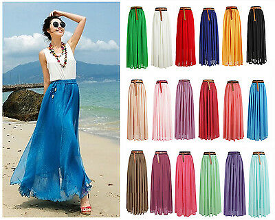 Women Summer Chiffon Pleated Retro Maxi Long Maxi Dress Elastic Waist Bust Skirt