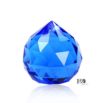 5 Blue Crystal Ball Sun Catcher Feng Shui Hanging Crystal Rainbow Prism 30Mm