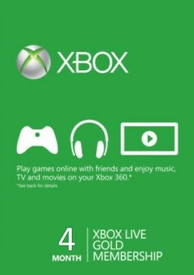 4 (3 + 1) Month Xbox Live Gold Subscription Code for US 360 One