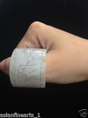 Old Natural Hetian White Jade Ring Chinese Antique - Raised Carving!  #162