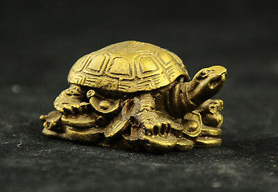 Chinese Fengshui Brass Statue sculpture turtle & money  #1