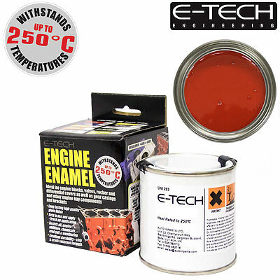 E-Tech RED Heat Resistant Engine Enamel Paint 250ml **NEW** High Temp